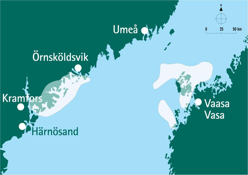 The map shows the borderlines of the joint World Heritage Site of the High Coast and the Kvarken Archipelago.