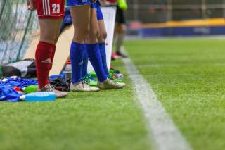 Jalkapalloilijoita Botniahallissa