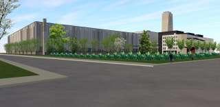 Illustrationsbild över Smart Technology Hub och tillhörande kontorsbyggnad sett från Frilundsvägen.