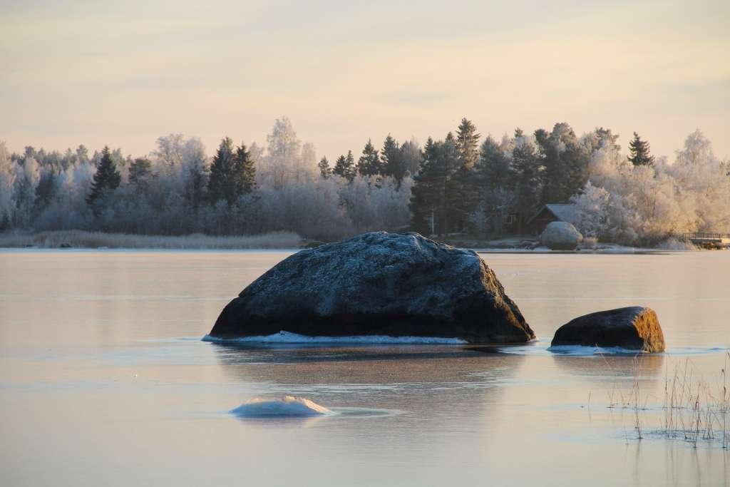 Stor sten i fruset hav med snöig skog i bakgrunden.