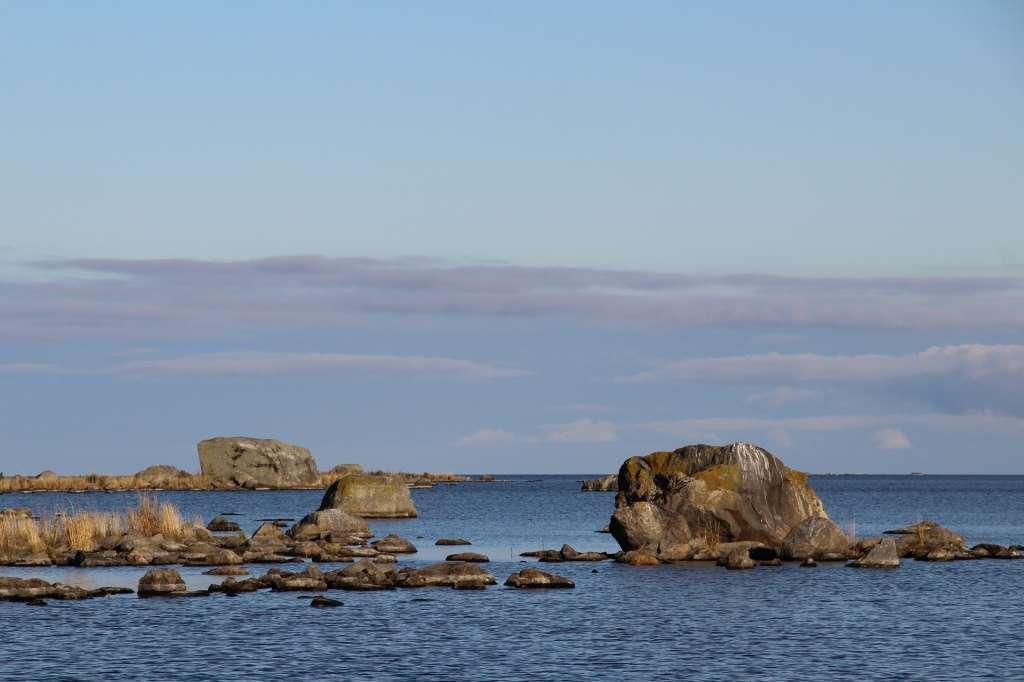 Boulders in the sea in the Kvarken Archipelago.