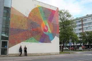 Vasa Övningskolan lukion seinän uusi muraali