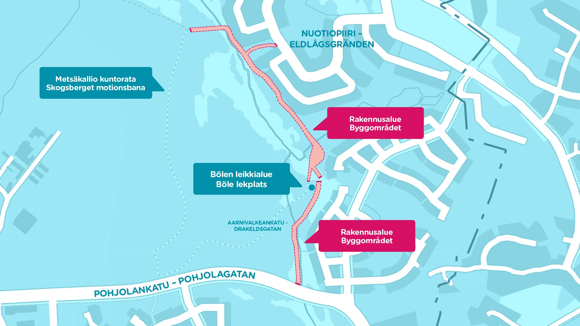 Kartta tietyömaan sijainnista Metsäkalliossa ja Länsiniityssä.