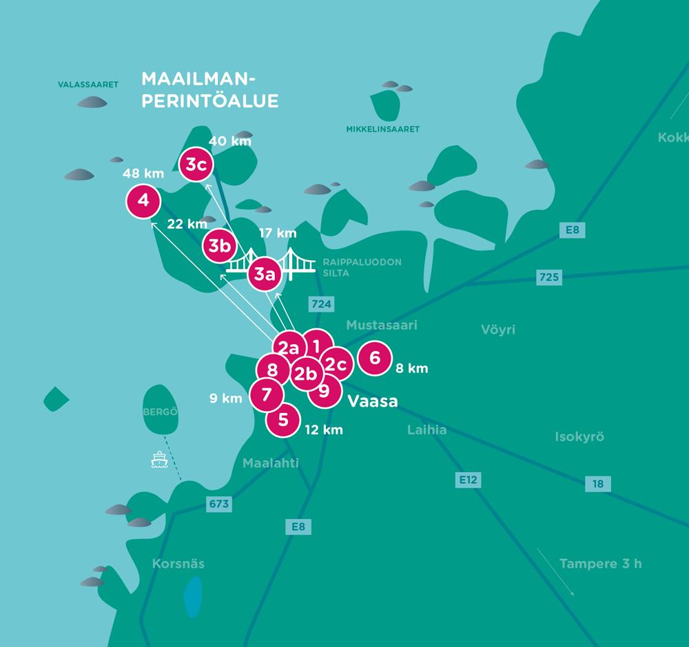 Vaasan ja lähialueidin kartta, johon merkitty numeroilla eri aktiviteetti paikat