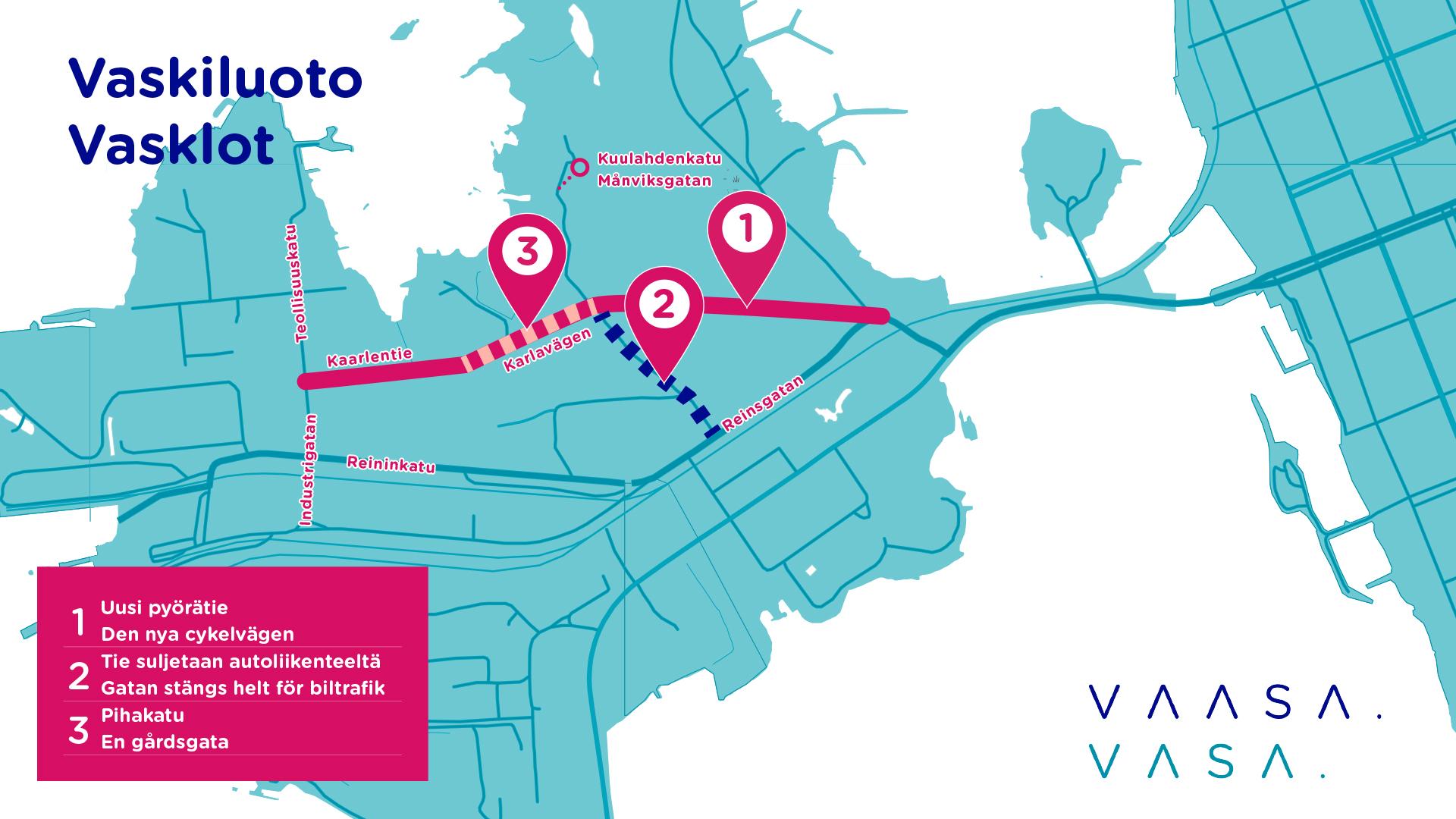 Karttakuva, jossa kuvataan uuden pyörätien reitti sekä muutokset muihin liikennejärjestelyihin.