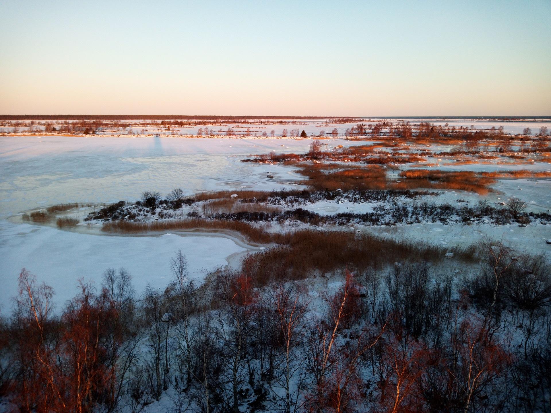 Talvinen maisema Merenkurkun saaristosta, jossa meri on jäässä ja kapeita ja pitkiä saaria peittää lumi.