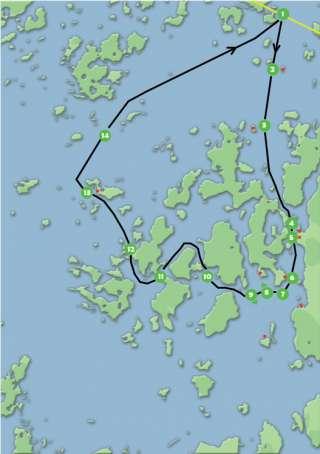 Karta med rutt över M/S Corinas skärgårdskryssning via Strömsö