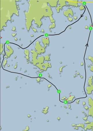 Kartta, mihin on merkitty M/S Corinan saaristoristeilyreitti Norra Vallgrundin kautta